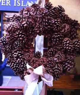 Christmas wreath with fir cones