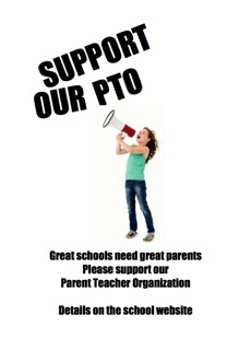 PTO poster Girl with a megaphone